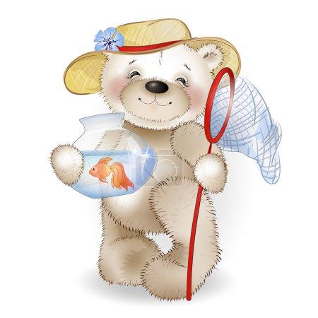 Illustration pour Ours souriant dans un chapeau de paille debout avec un poisson dans le pot. Le fond blanc . - image libre de droit