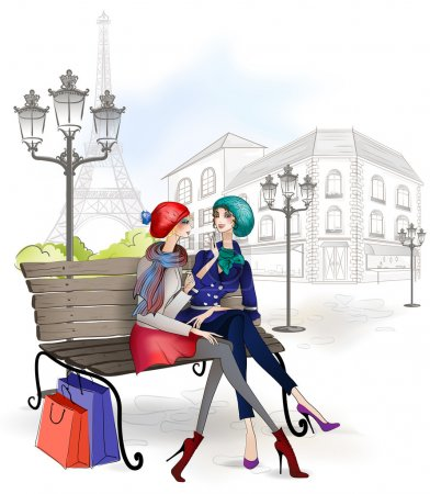 Illustration for Girlfriend sitting on a bench in the Park after shopping - Royalty Free Image