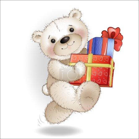 Illustration pour L'ours souriant est livré avec une boîte-cadeau. Le fond blanc . - image libre de droit