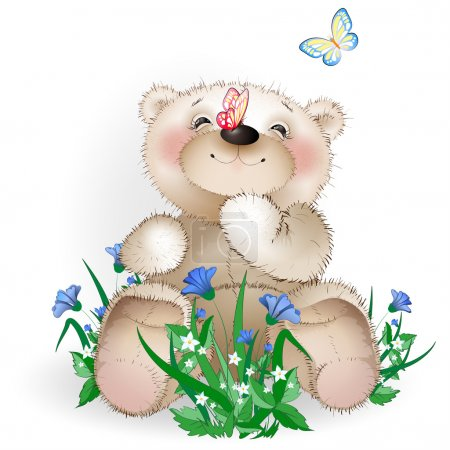 Happy Teddy bear sits in a meadow flowers1