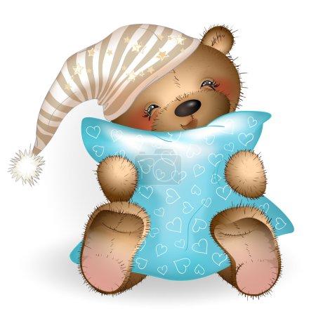 Illustration pour Joyeux ours en peluche étreignant un oreiller. Le fond blanc. Illustration vectorielle - image libre de droit