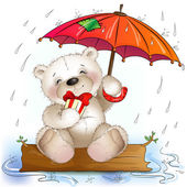 Teddy bear sits with a gift under the umbrella