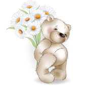 Teddy bear and a bouquet of chamomiles on white background