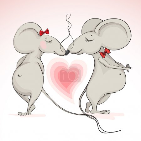 love the mouse on the background of hearts