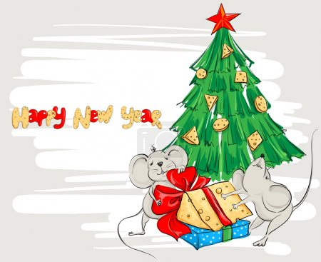 Funny cartoon mouse divide the cheese under the Christmas tree