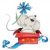Šťastná myš v červené dárkové krabičce