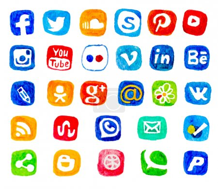 Illustration for Watercolor set of social networking icons. Hand draw icon pack. Vector social icons on white background. - Royalty Free Image