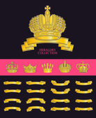 Vector heraldic elements design Crown ribbon collection Ancient beauty and haraldry elements insignia Traditional aristocracy signs Heraldry template