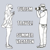 Doodle of a young woman typing with smartphone and a yound man with photo camera taking pictures with space for text Poster of cover for travel and summer