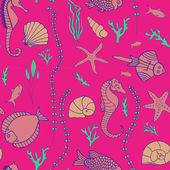 Seamless pattern with hand drawn fishes