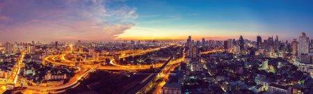 Photo for Bangkok Expressway top view in panorama at sunrise, Thailand. - Royalty Free Image
