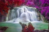 Fantasy waterfall and green forest Resting Place and relax time