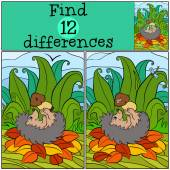 Children games: Find differences Little cute hedgehog lays and holds mushroom with worm in the hands