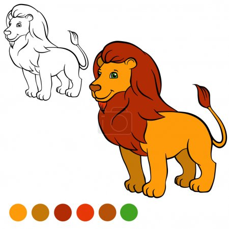 Coloring page. Color me: lion. Cute beautiful lion stands and sm