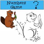 Educational games for kids: Numbers game with contour Little cute beaver sits and smiles