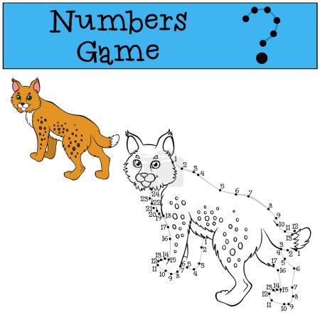Illustration pour Jeux éducatifs pour les enfants : Jeu de chiffres avec contour. Petit lynx mignon se tient et sourit . - image libre de droit