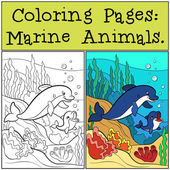 Coloring Pages: Marine Animals Mother dolphin swims with her li