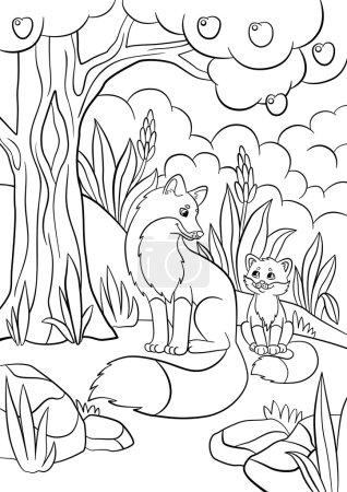 Illustration pour Coloriages. Des animaux sauvages. Mère renard avec son petit bébé renard mignon dans la forêt . - image libre de droit