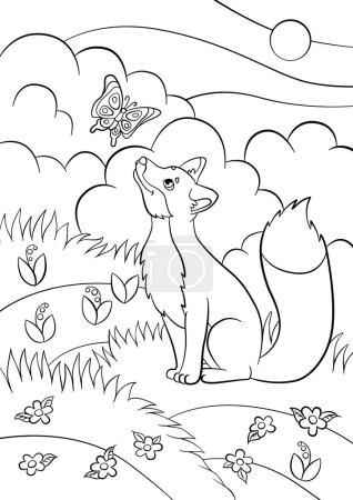 Illustration pour Coloriages. Des animaux sauvages. Petit renard mignon regarde le papillon et sourit. Il y a une forêt autour . - image libre de droit