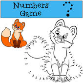 Educational games for kids: Numbers game Little cute baby fox sits and smiles