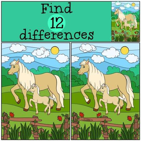 Illustration pour Jeux pour enfants : Trouver des différences. Mère cheval avec son petit poulain mignon . - image libre de droit