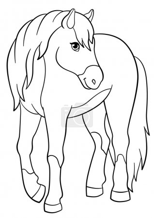 Coloring pages. Farm animals. Cute horse.