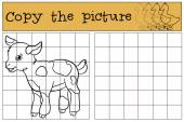 Children games: Copy the picture Little cute baby goat stands and smiles