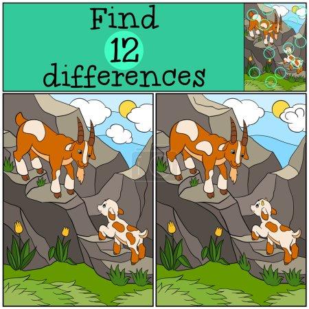 Illustration pour Jeux pour enfants : Trouver des différences. Père chèvre avec son petit bébé chèvre mignon sur les rochers . - image libre de droit