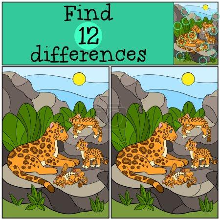 Illustration pour Jeu éducatif : Trouver les différences. Mère jaguar avec ses petits petits mignons sur les pierres . - image libre de droit