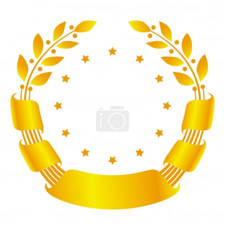 Illustration for Golden laurel wreath with ribbon and stars - Royalty Free Image