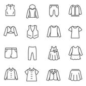 Types of clothes for girls and teenagers as line icons