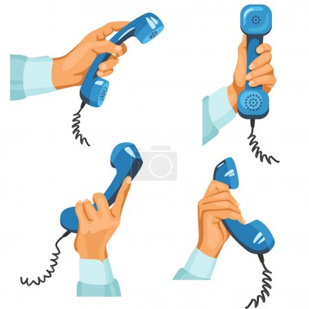 Male hands with telephones in them