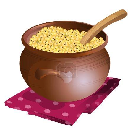 Clay pot with millet porridge in it
