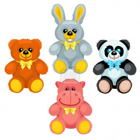 There are plush bear, bunny, panda and hippo holding numbers