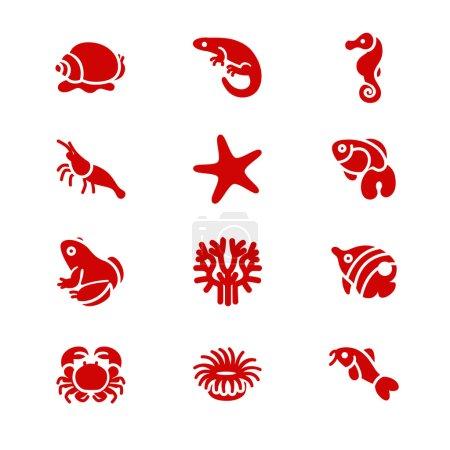 The most popular aquarium inhabitants as glyph icons