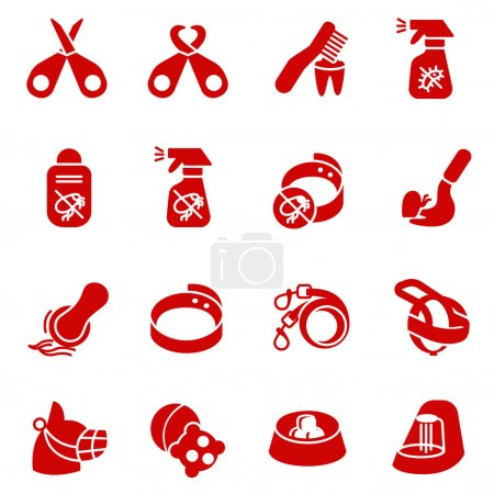 Dog care items as glyph icons, set two