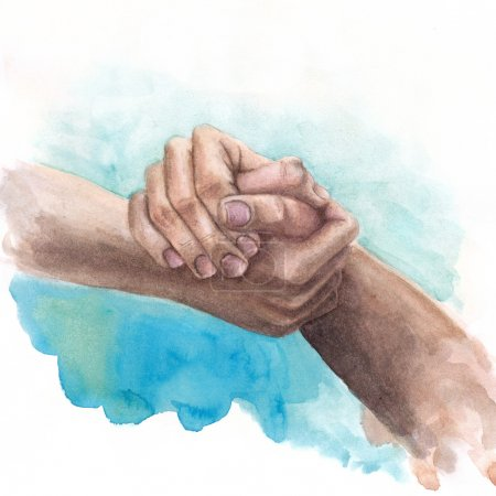 Watercolor background with shaking hands