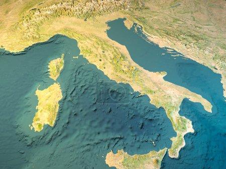 italien, physische karte, satellitenbild, karte, 3d rendering.
