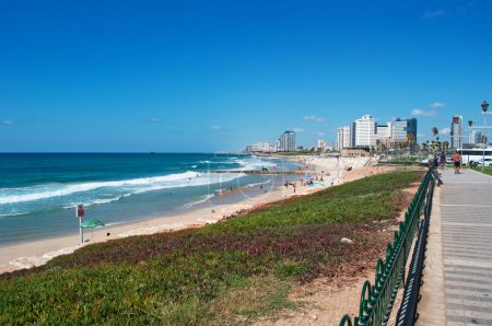 Israel: Tel Aviv seafront, Mediterranean Sea and beaches seen from Old Jaffa