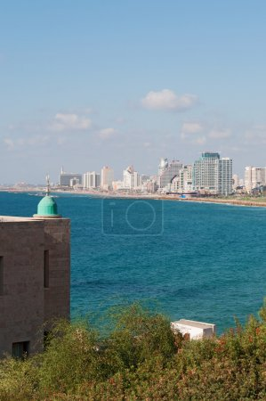 Israel: Tel Aviv seafront and skyline with Mediterranean Sea seen from Old Jaffa