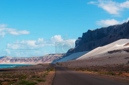The road to sand dunes of Archer, Arabian Sea, Socotra Island, Yemen, Middle East
