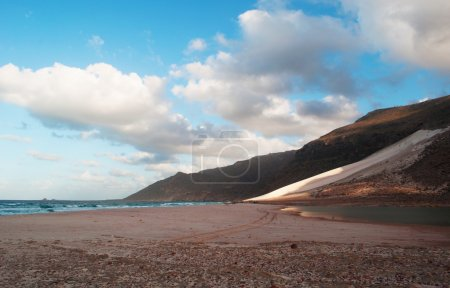 The sand dunes in the protected area of Archer, red rocks, overview, Socotra, island, Yemen