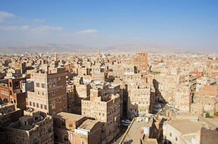 The Old City of Sana'a, decorated houses, palaces, minarets, fog, mosques, Yemen