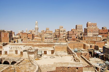 The Old City of Sana'a, decorated houses, palaces, minarets, roofs and mosques, Yemen