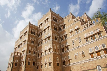 The Old City of Sana'a, decorated house, palace, windows, Yemen