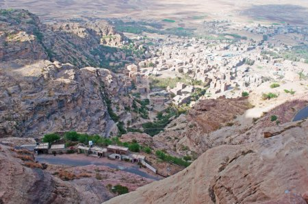 Overview of Shibam valley seen from the fortified city of Kawkaban, Yemen