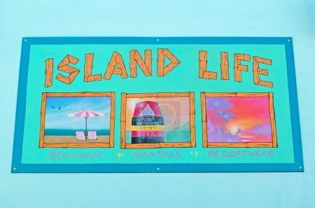 Island life, postcard, wall, graffiti, murals, drawings, street art, beachwear, sandals, Key West, Keys, Cayo Hueso, Monroe County, island, Florida