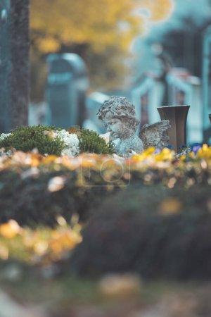 Photo pour Ange blanc sur une tombe dans un cimetière, fleurs - image libre de droit