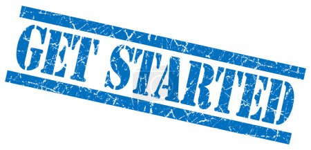 get started blue grungy stamp on white background