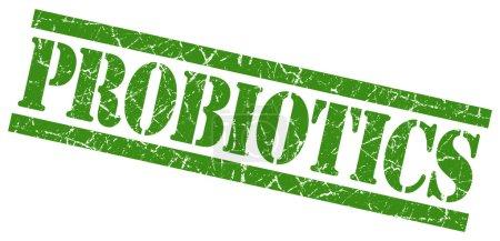 Probiotics green grunge stamp isolated on white